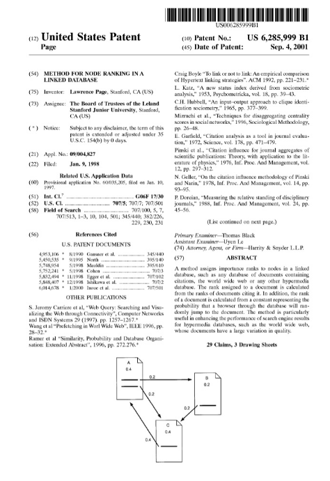 Larry Page's patent for Google's pagerank