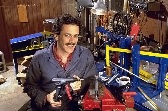Joel Marks - inventor in garage
